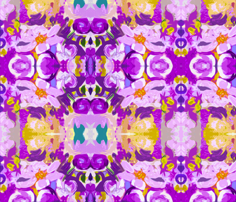 Large Print Abstracted Flowers in Lavender   fabric by theartwerks on Spoonflower - custom fabric