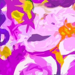 Large Print Abstracted Flowers in Lavender