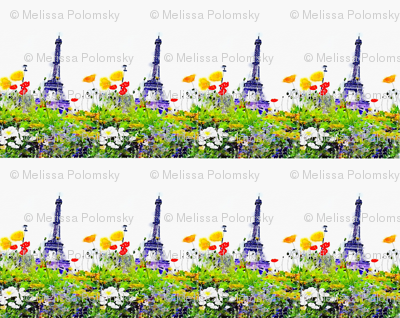 Paris in Springtime Floral Watercolor Print