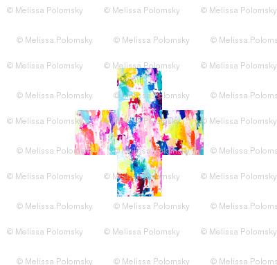 Colorful Abstract Painted Plus + Sign Pattern Print