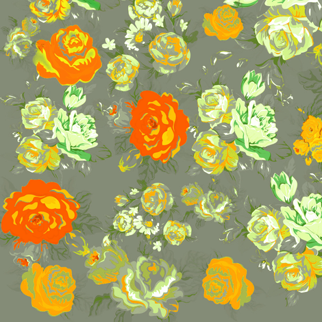 Vintage Floral Print with Yellow Roses on Grey fabric by theartwerks on Spoonflower - custom fabric