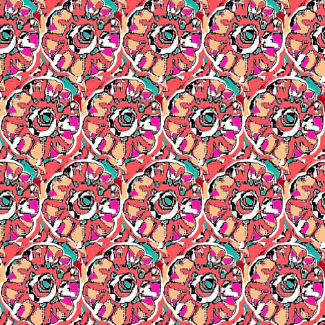 Rose and teal floral 3 fabric by dk_designs on Spoonflower - custom fabric