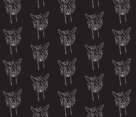 Chalkboard Alpaca fabric by luvinewe on Spoonflower - custom fabric