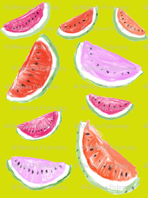 Watercolor Watermelons // chartreuese