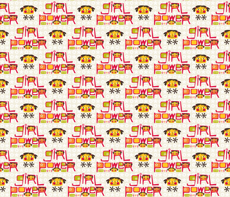 Girl Power ~ I am happy, I am strong fabric by retrorudolphs on Spoonflower - custom fabric