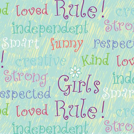 Girls Rule blue fabric by jillbyers on Spoonflower - custom fabric