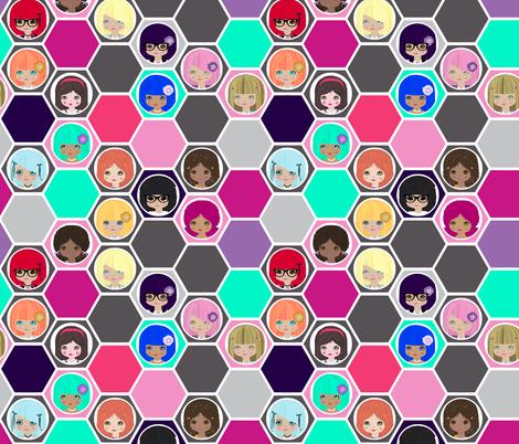 Hexa dollies multi fabric by katarina on Spoonflower - custom fabric
