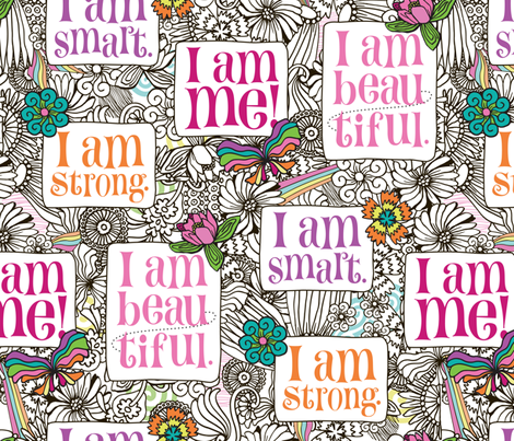 Strong Smart Beautiful ME large scale fabric by gitchyville_stitches on Spoonflower - custom fabric