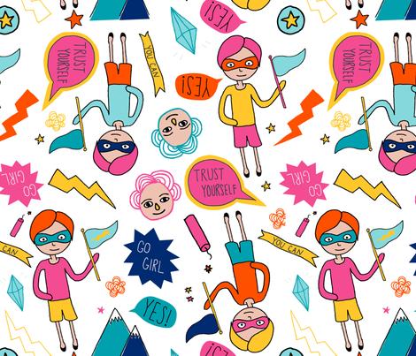 girl power fabric by tammiebennett on Spoonflower - custom fabric