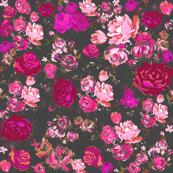 Vintage Floral // Hot Pink & Charcoal
