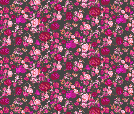 Vintage Floral // Hot Pink & Charcoal  fabric by theartwerks on Spoonflower - custom fabric