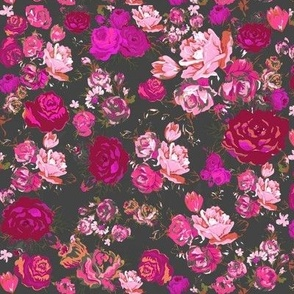 Theartwerkss shop on spoonflower fabric wallpaper and gift wrap vintage floral hot pink charcoal mightylinksfo