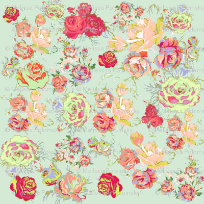 Vintage Inspired Floral in Peach and  Mint