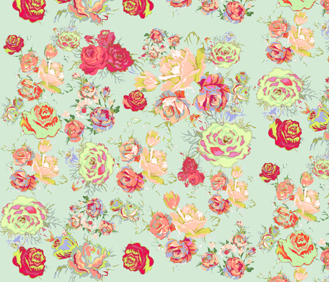 Vintage Inspired Floral in Peach and  Mint  fabric by theartwerks on Spoonflower - custom fabric