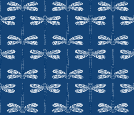 dragonfly in monaco blue fabric by chantae on Spoonflower - custom fabric