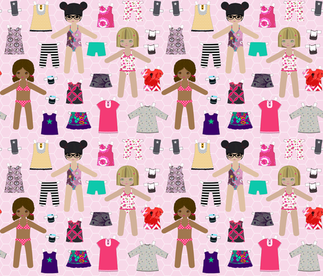 paper_dolls pink fabric by katarina on Spoonflower - custom fabric