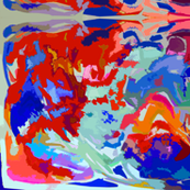 Large Print Bold Abstract in Royal Blue, Red, Orange, Mint, and SeaFoam.