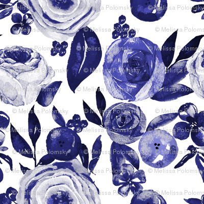 Blue and White Floral Watercolor