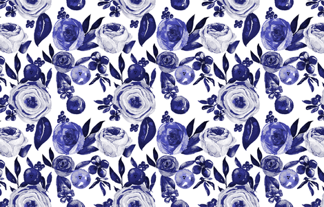 Blue and White Floral Watercolor fabric by theartwerks on Spoonflower - custom fabric