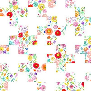 Colorful Floral Doodle Plus Sign Cheater Quilt Print