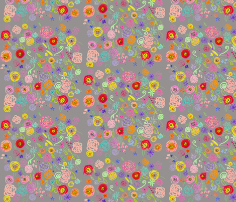 Colorful Floral Doodle on Grey Background fabric by theartwerks on Spoonflower - custom fabric