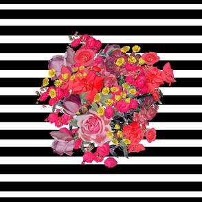Vintage Inspired Floral Burst with Black Stripe