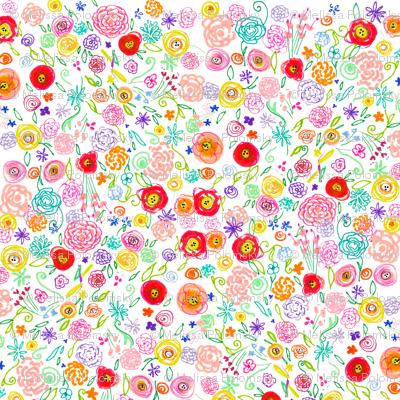 Colorful Floral Doodle - Larger Print