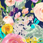 Autumn Blooms Painted Floral // Navy ( Extra Large Print)