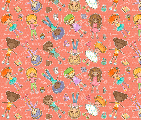 Yay Girls! Peach fabric by jillianmorris on Spoonflower - custom fabric