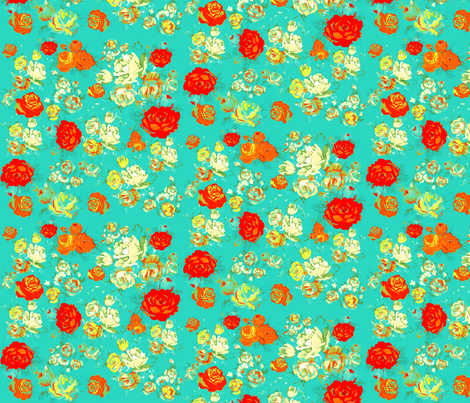 Yellow and Red Roses on Turquoise fabric by theartwerks on Spoonflower - custom fabric