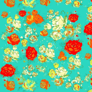 Yellow and Red Roses on Turquoise