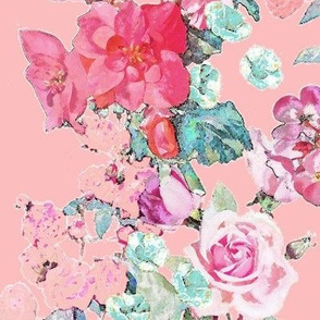 Vintage inspired floral in Peach, Pink, and Mint