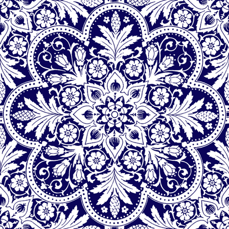 Bourgogne Tile ~  Admiral  ~ White and Blue fabric by peacoquettedesigns on Spoonflower - custom fabric