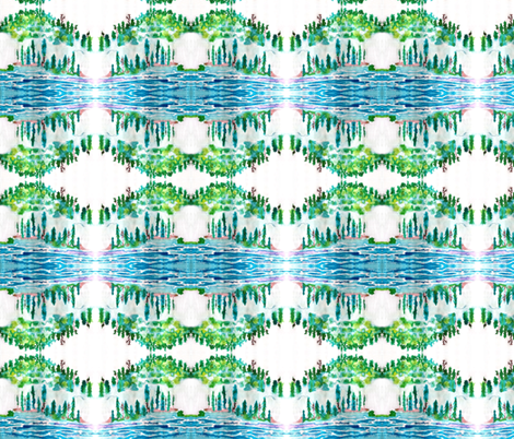 Northwoods Watercolor - white fabric by vanillabeandesigns on Spoonflower - custom fabric