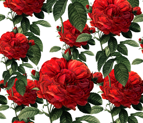 Redoute' Roses ~ Riot of Red fabric by peacoquettedesigns on Spoonflower - custom fabric