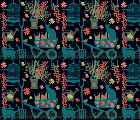 spring gardeningin the dark fabric by kociara on Spoonflower - custom fabric