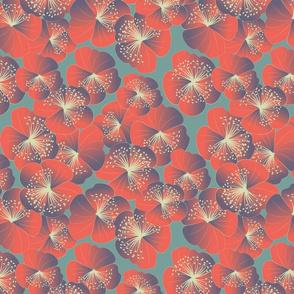 Nasturtia blooms on grey