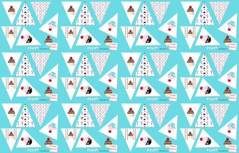 Cupcakes Bunting fabric by karenharveycox on Spoonflower - custom fabric