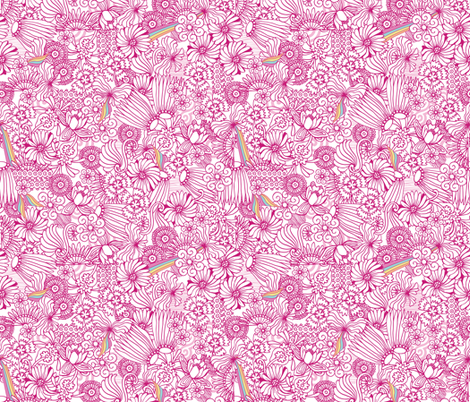 Strong Smart Beautiful ME pink flowers fabric by gitchyville_stitches on Spoonflower - custom fabric