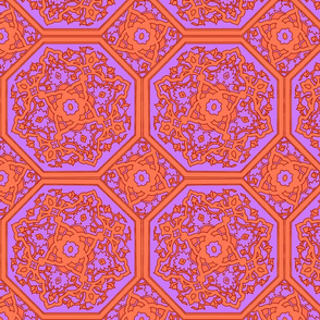 Persian Tile ~ Lavender and Acid Orange