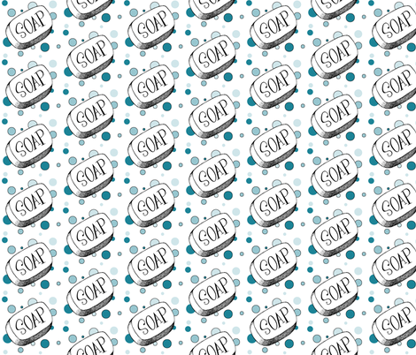 Soap and Bubbles in Teal fabric by ripdntorn on Spoonflower - custom fabric