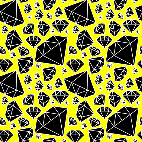 Diamonds Black and White on Yellow fabric by pencilmein on Spoonflower - custom fabric