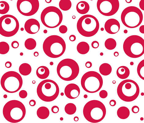 Circles and Dots White with Geranium Red fabric by ripdntorn on Spoonflower - custom fabric