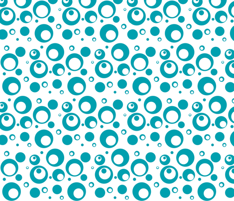 Circles and Dots White with Turquoise fabric by ripdntorn on Spoonflower - custom fabric