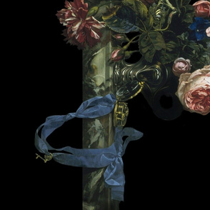 Flower Still Life With A Watch ~ Willem van Aelst ~ Border Print