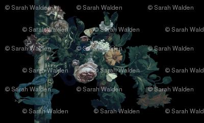 Flower Still Life With A Watch ~ Willem van Aelst ~ Border Print ~ Pale