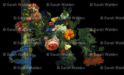 Flower Still Life With A Watch ~ Willem van Aelst ~ Border Print ~ Bright