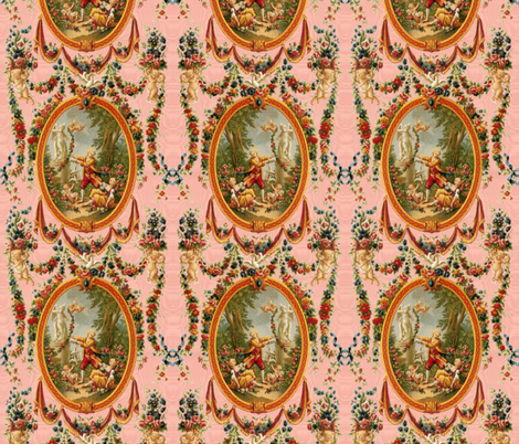Rococo Swingers ~ Marie Antionette Pink Moire fabric by peacoquettedesigns on Spoonflower - custom fabric