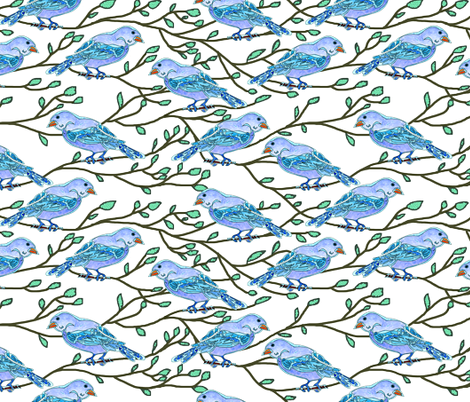 Blue Bird Conference fabric by martaharvey on Spoonflower - custom fabric