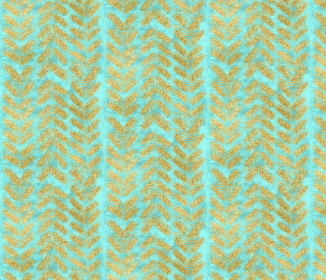 Bright Mint // Turquoise Watercolor + Gold Glitter Chevrons fabric by theartwerks on Spoonflower - custom fabric